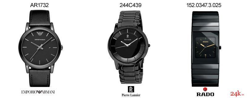 Черные часы от Armani и Rado