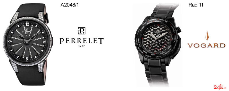 Черные часы от Perrelet и Vogard