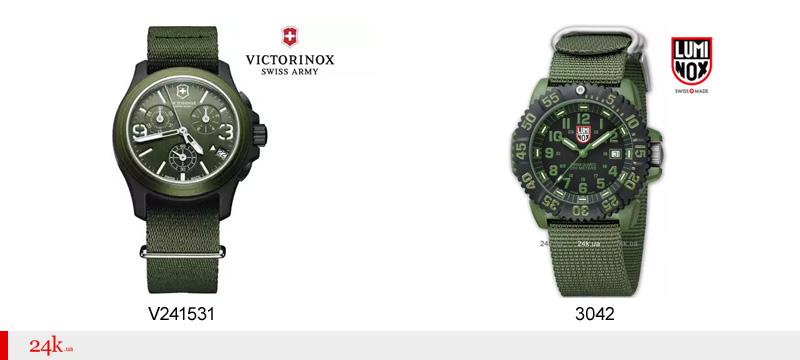 Зеленые часы Victorinox и Luminox