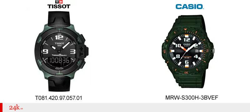 Зеленые часы Casio и Tissot